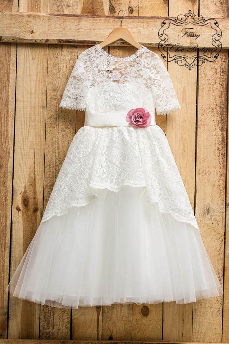 970e188efa70 Ivory tulle flower girl dress lace toddler junior dress first   Etsy