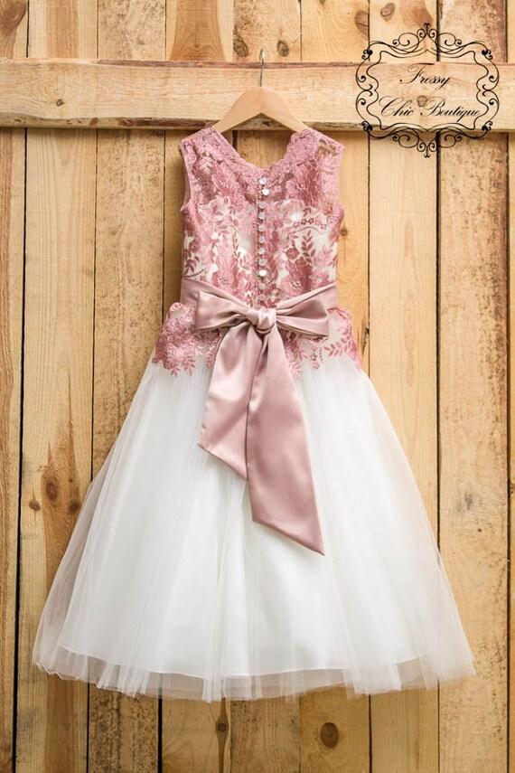 Dusty pink dress girls lace flower girl dress girls communion etsy image 0 mightylinksfo