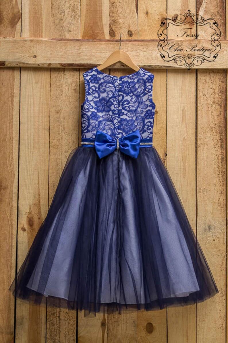 Navy blue Flower girl dress tulle lace dress lace baby lace flower girl junior dress tulle dress toddler girl dress tulle flowergirl dress