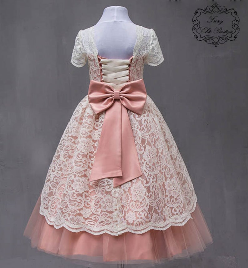751fb0edc6e5 Blush pink flower girl dresses lace baby dress tulle dress | Etsy