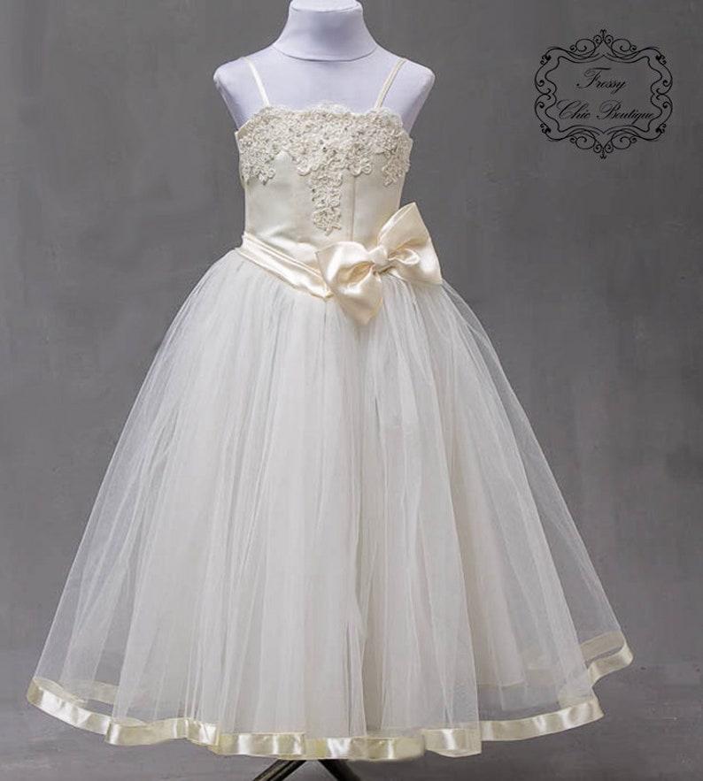 07721233af670 Dentelle Ivoire robe fille fleur robe bébé fille de fleur robe