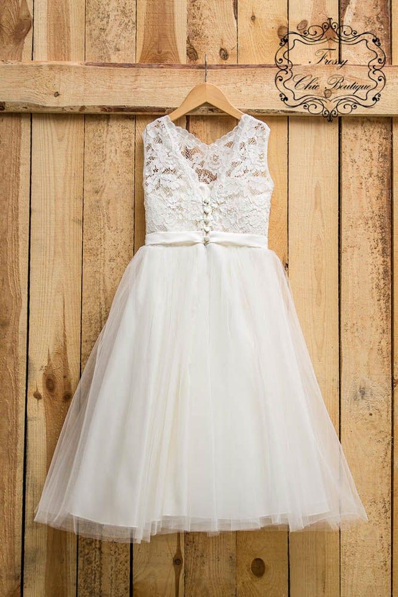 20fb2d491126 Ivory dresses flower girl tulle lace flower girl dress first   Etsy