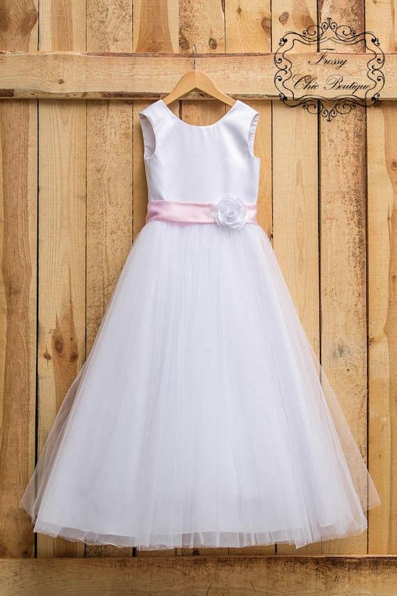 92fb6763bf8e6 White flower girl dresses first communion dress tulle girls | Etsy