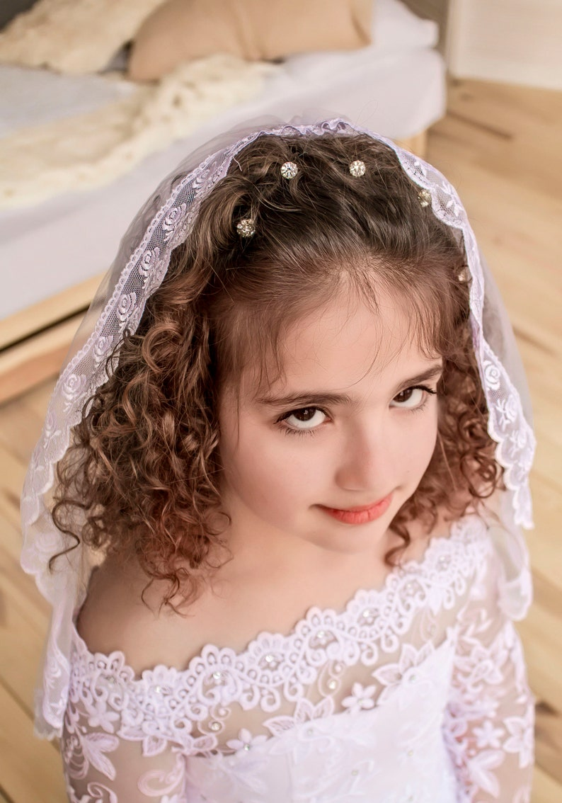 Mantilla lace edged first communion veil for children one tier communion veil childs lace edged veil white flower girl first communion veil