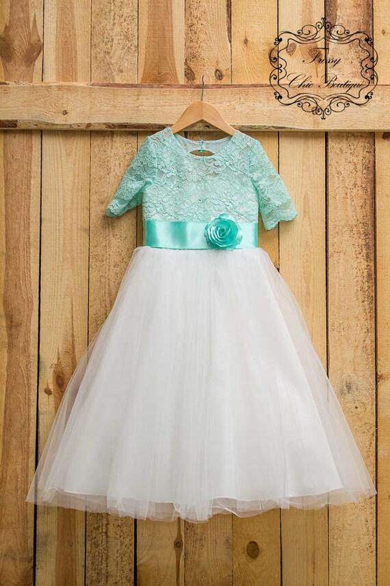 c78b1146bd Mint green flower girl dress wedding girl tutu tulle mint | Etsy