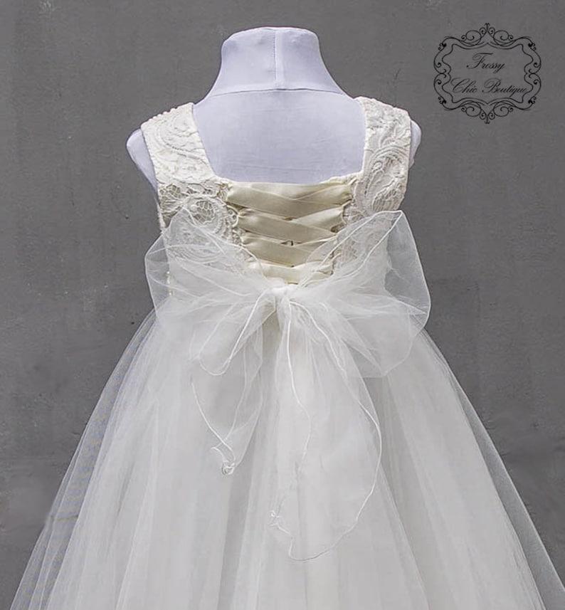 cbd85a6f3f77 Beige tulle flower girl dress first communion princess dress   Etsy