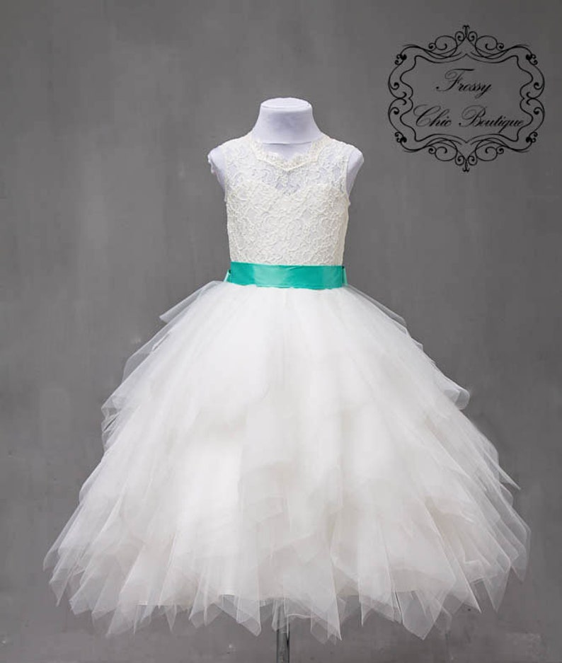 143488b73464 Ivory flower girl dress tulle ivory junior flower girl dresses   Etsy