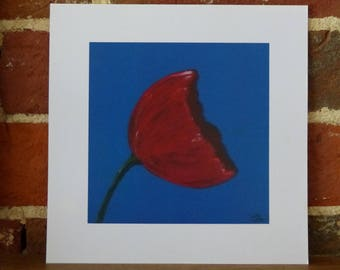 Red Poppy on blue - 20cm x 20cm print