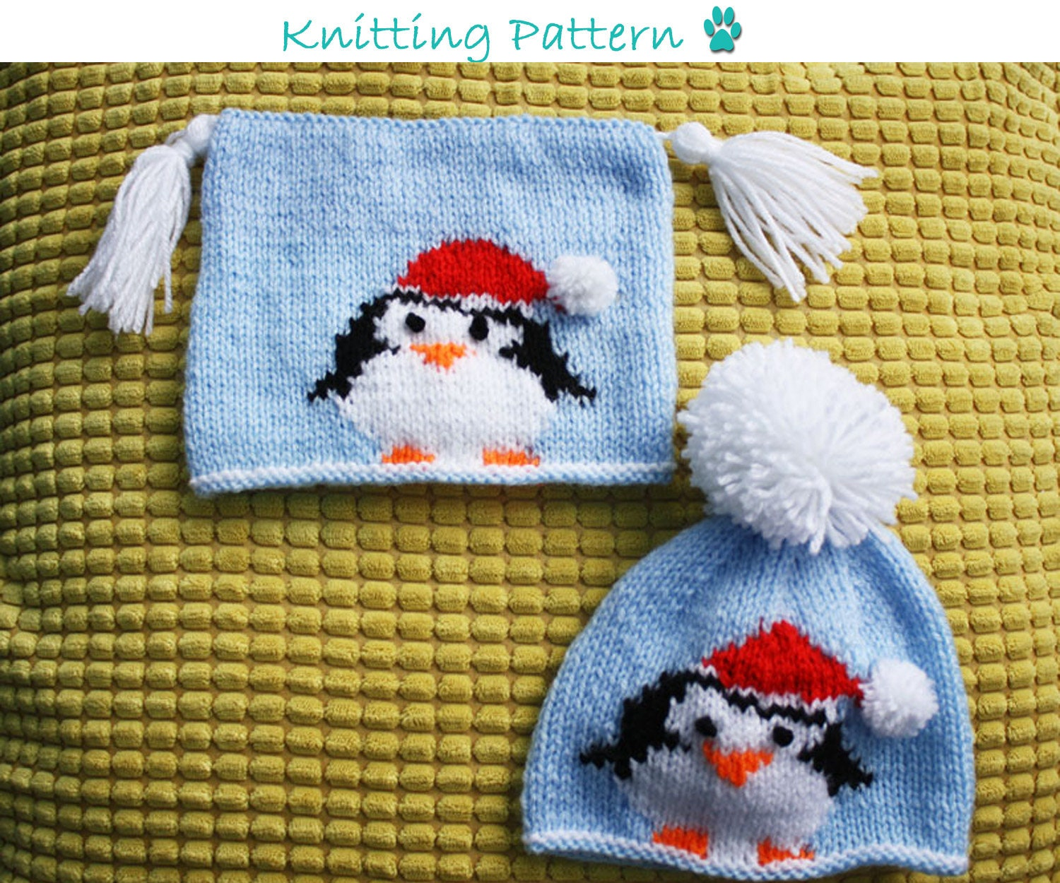 Christmas Penguins Hat Knitting Pattern To Fit Newborn 3 6 Etsy