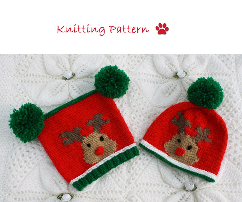 e349faabb Rudolph the Reindeer Hats Knitting Pattern to fit Newborn/3-6 months/6-12  months/1 year to 2 year old Christmas Baby Hats by PDF download