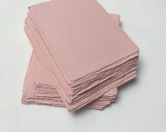 """5.7"""" x 8.2"""" (A5) Pink, 150gsm Handmade Deckle Edge Cotton Rag Paper // Deckle Edge Paper, Cotton Paper, Invitation Paper, Calligraphy Paper"""