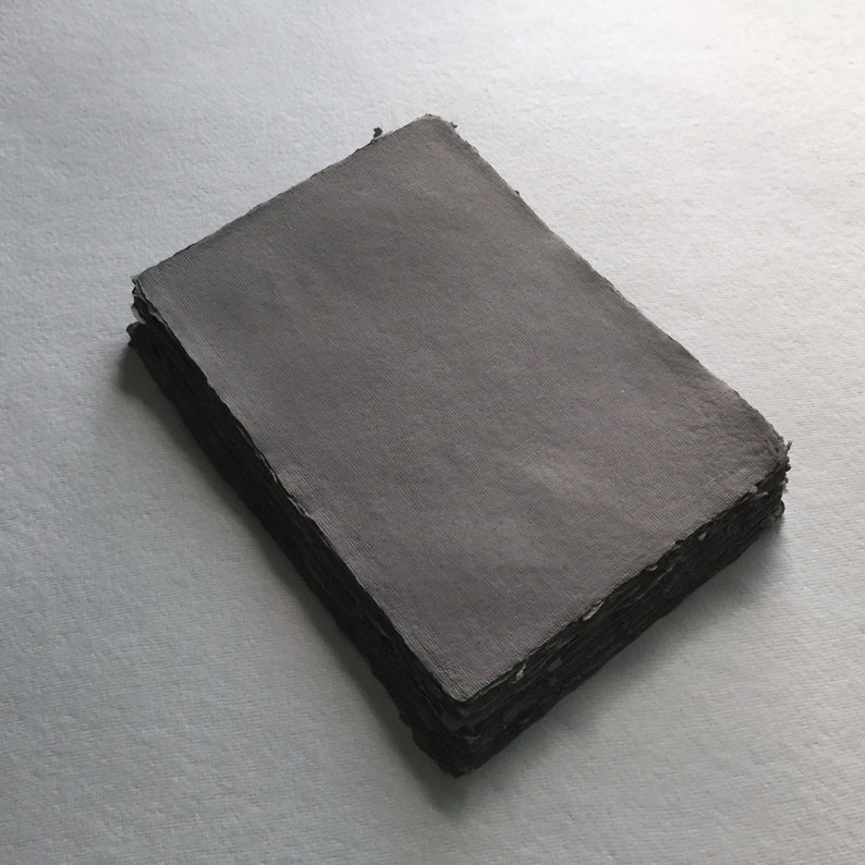 8.3 x 11.7 A4 150gsm Dark Grey Handmade Deckle image 0