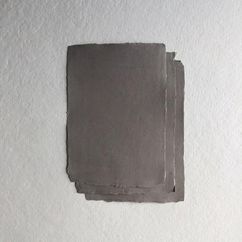 5.7 x 8.2 A5 210gsm Dark Grey Handmade Deckle image 0