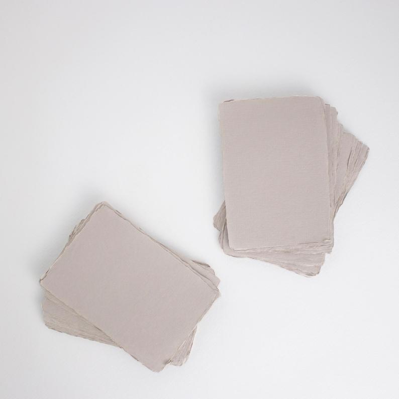 5 x 7 210gsm Light Grey Handmade Deckle Edge image 0