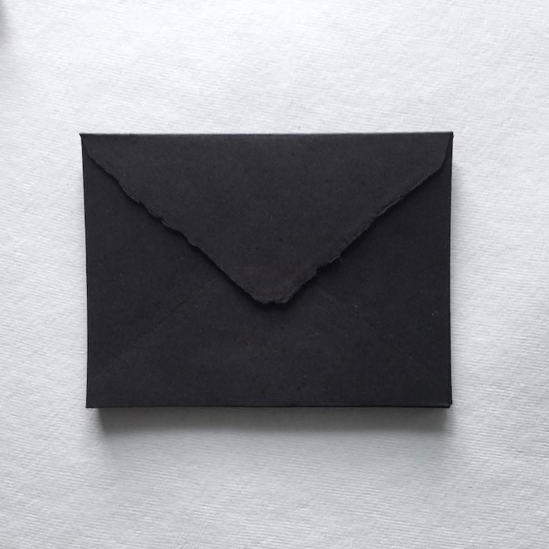 5.25 x 7.25 Black Handmade Deckle Edge Envelopes image 0