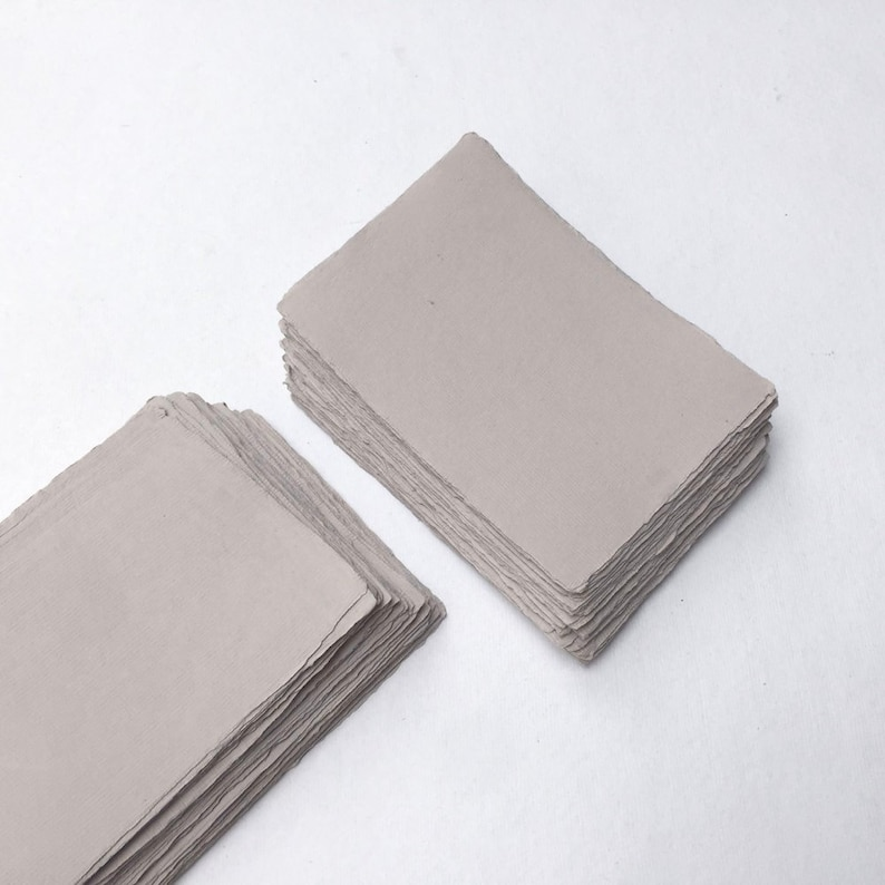4.1 x 5.8 A6 210gsm Light Grey Handmade Deckle image 0