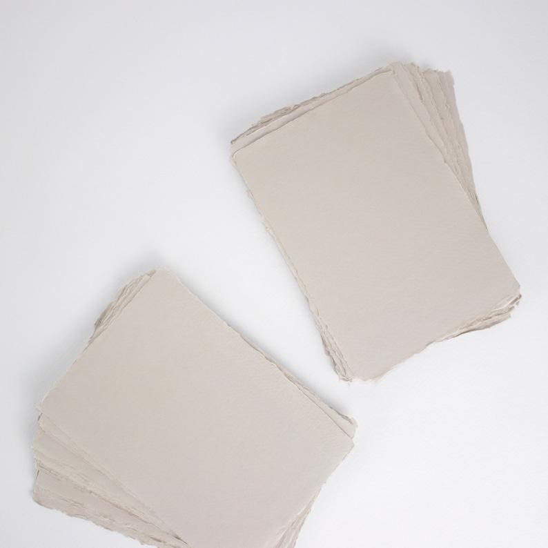 5.7 x 8.2 A5 150gsm Light Grey Handmade Deckle image 0