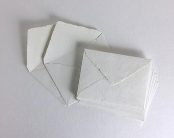 "5.25"" x 7.25"", Ivory Handmade Deckle Edge Envelopes (US A7) // Deckle Edge Envelopes, Cotton Envelopes, Invitation Envelopes, A7 Envelopes"
