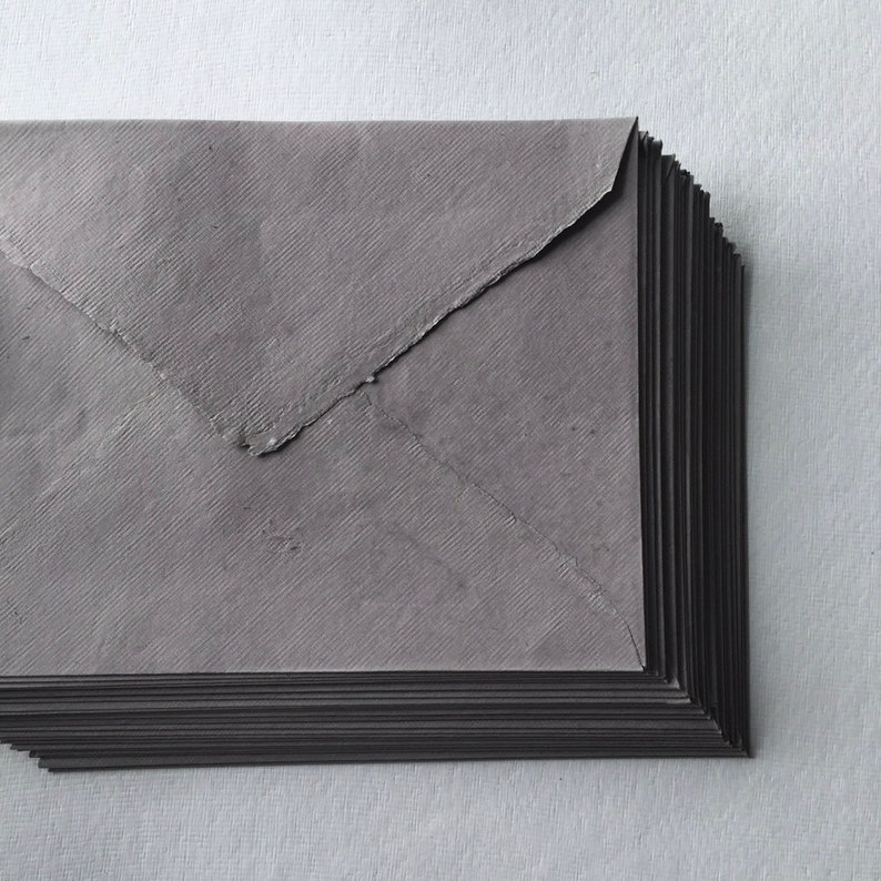 6.4 x 9.0 C5 Dark Grey Handmade Deckle Edge image 0