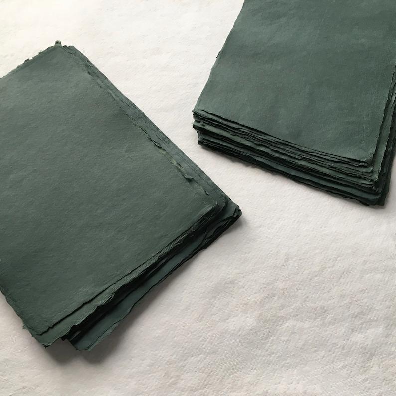 8.3 x 11.7 A4 210gsm Dark Green Handmade Deckle image 0