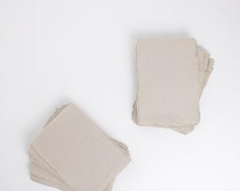 "5"" x 7"" 150gsm, Light Grey Handmade Deckle Edge Paper (US A7) // Deckle Edge Paper, Cotton Paper, Invitation Paper, Calligraphy Paper"