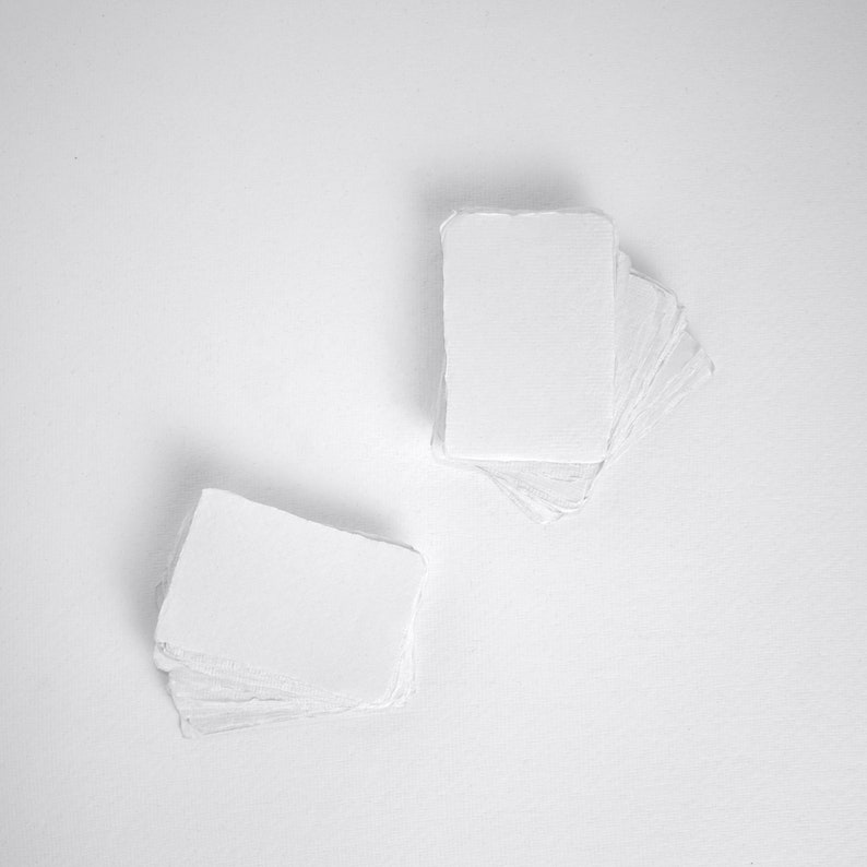 2 x 3.1 Place card 210gsm White Handmade Deckle image 0