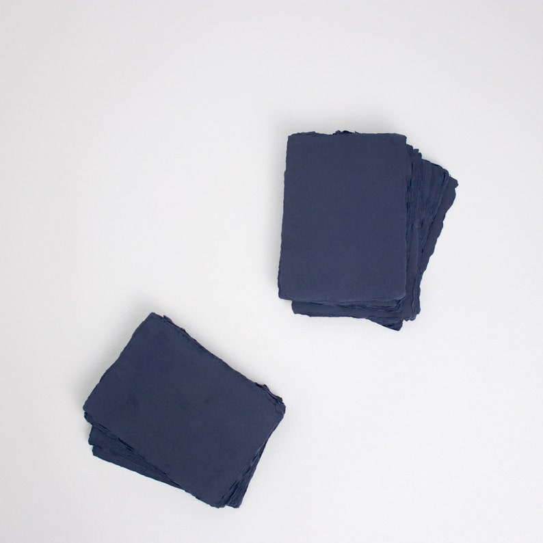 3.5 x 4.875 4-Bar 210gsm Deep Blue Handmade image 0