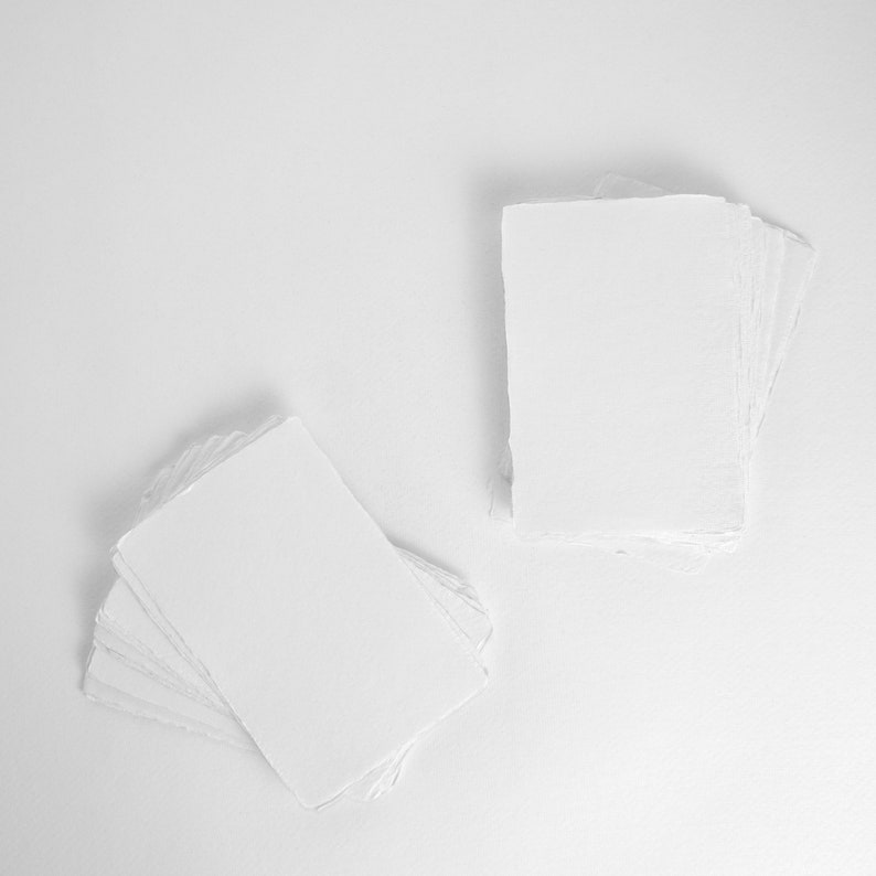 5 x 7 210gsm White Handmade Deckle Edge Paper US image 0