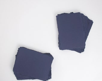 "5"" x 7"" 210gsm, Deep Blue Handmade Deckle Edge Paper (US A7) // Deckle Edge Paper, Cotton Paper, Invitation Paper, Calligraphy Paper"