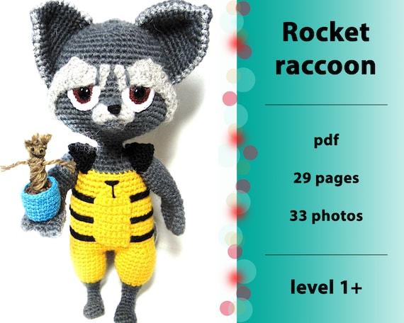 Rakete Raccoon Häkelanleitung Rakete Häkeln Waschbär Waschbär Etsy