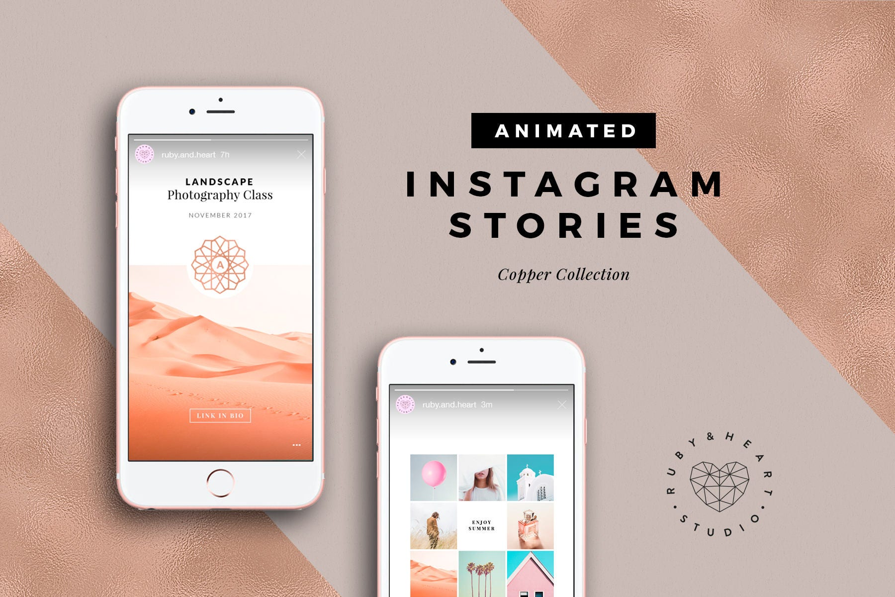ANIMATED Copper Instagram Story Templates for Photoshop