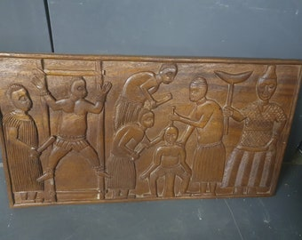 African Carved Wooden Wall Plaque *