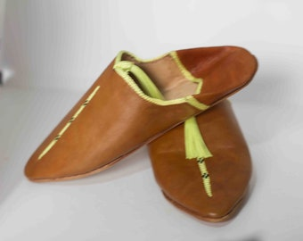 a00aa8d388377 Women Leather Babouche Morocco Slides Shoes Handmade For   Etsy