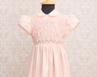 Polly Flinders Girls Hand Smocked Pink Dress