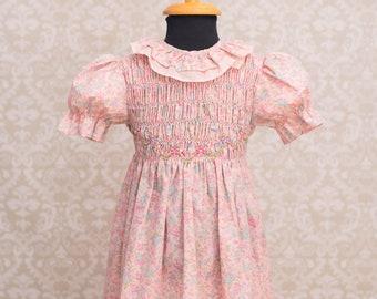 Polly Flinders Girls Hand Smocked Floral Pink Dress