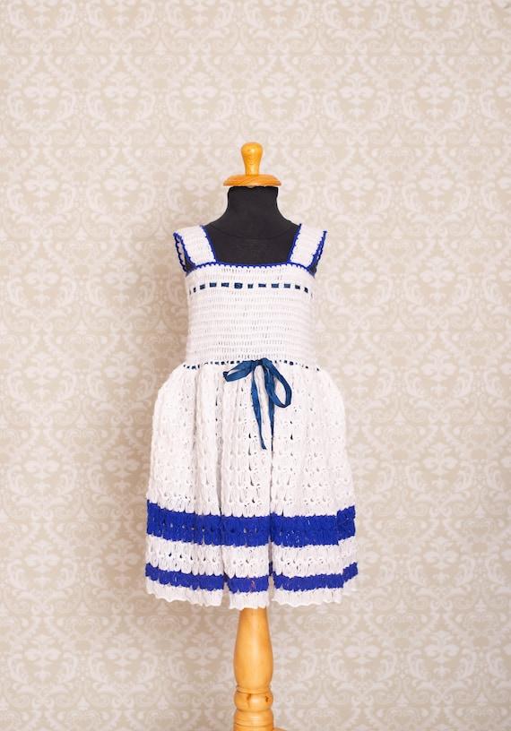 Hand Crochet Smocked Top Girls Dress