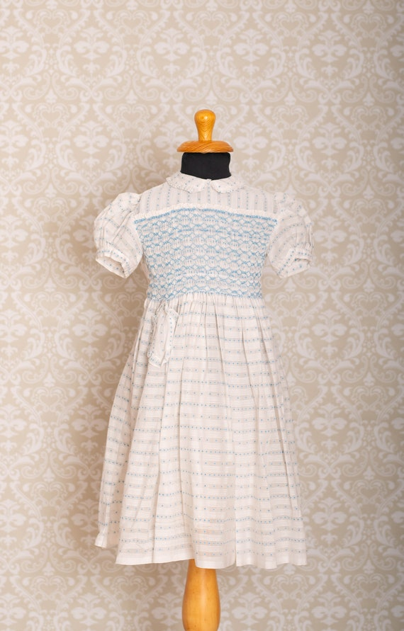 Frock Semi Sheer Swiss Dot Girls Smocked Dress