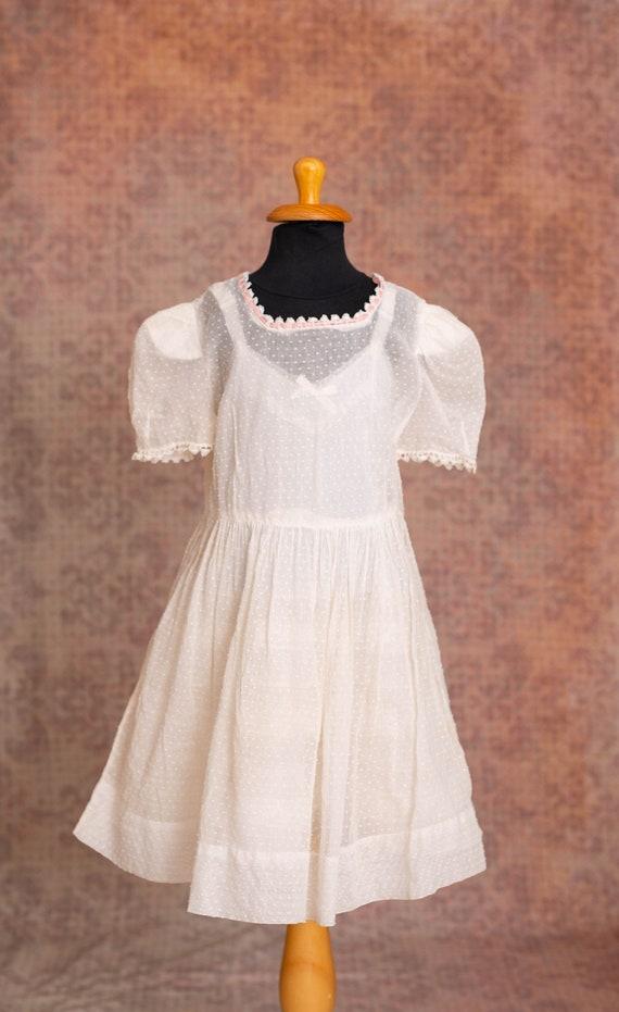 Girls Antique Swiss Dot White Colour Sheer Dress