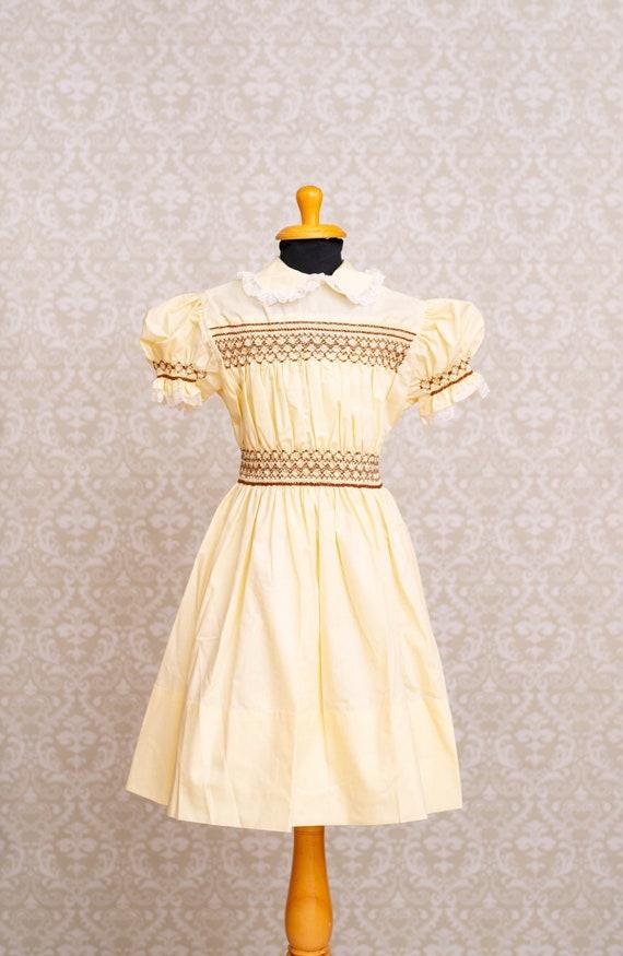 Hand Smocked Pale Yellow Girls Dress