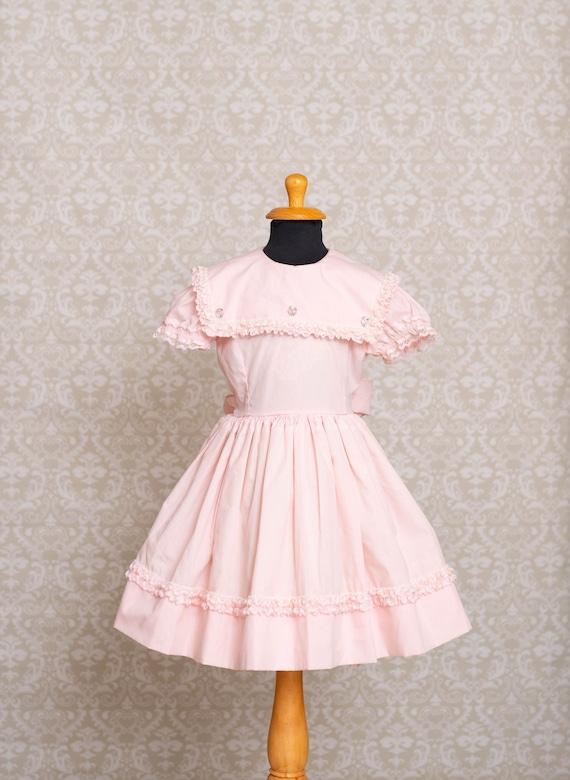 1980s Betty Oden Pale Pink Ruffle Dress