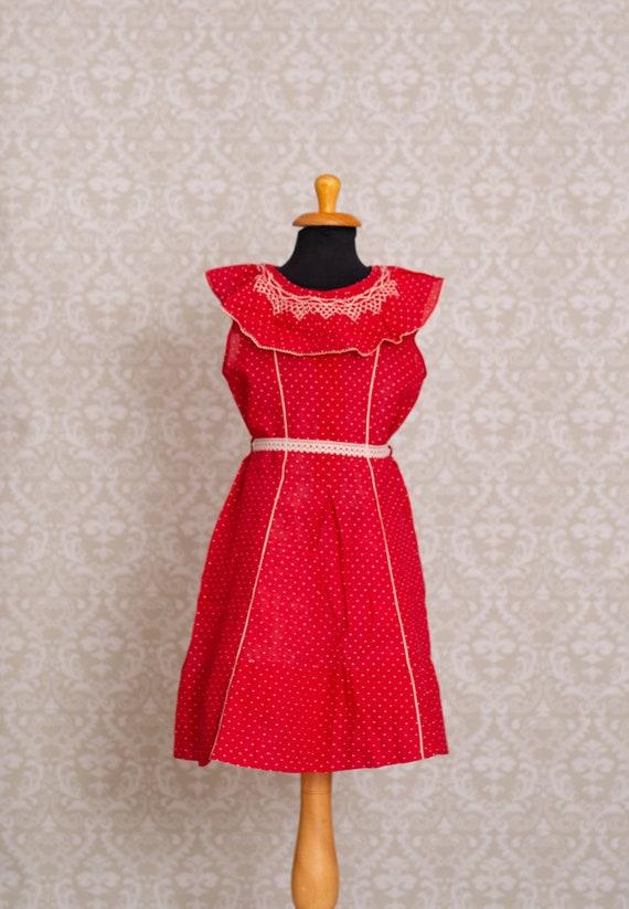 1930's Swiss Dot Hand Smocked Red Colour Girls Dre