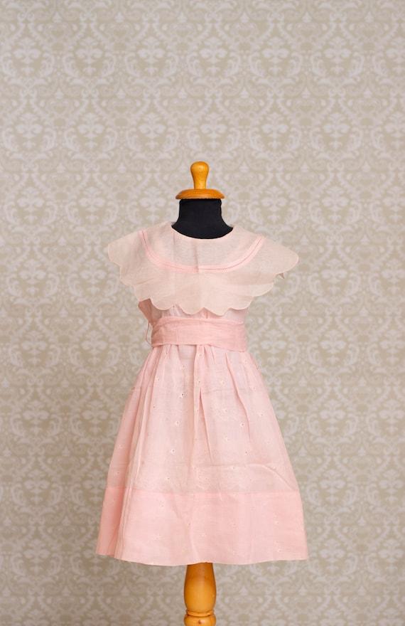 1930s Cinderella Brand Frock Pink Sheer Dress