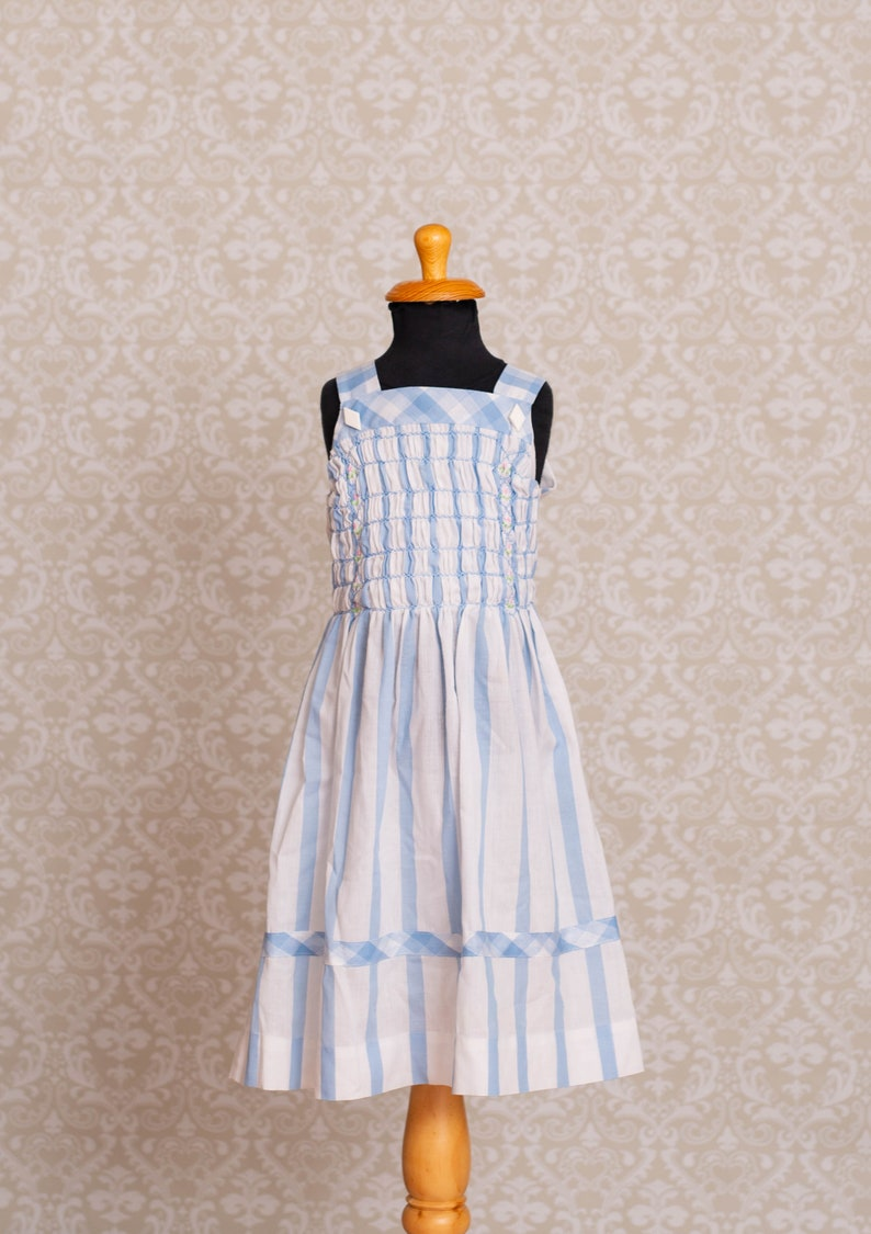 156d9cf8f6db Polly Flinders Hand Smoked Light Blue and White Striped Dress