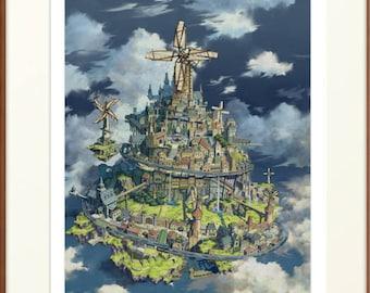 Windmill Town, anime art, anime print, manga art, anime wall art, anime decor, manga Wall Art