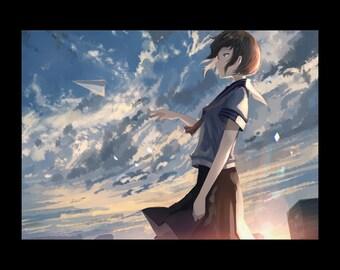 A cloud of madder colors, Anime art Print, manga art, Anime wall art, Anime decor, manga wall art