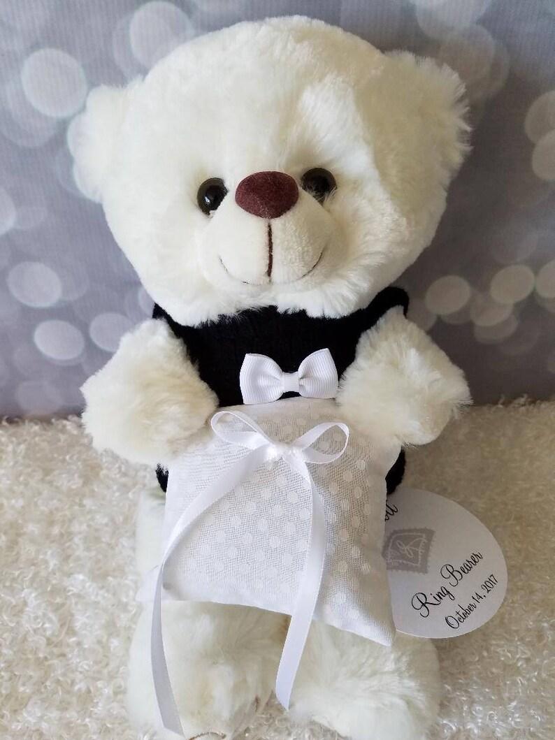 7cb5cfdf66f Personalized Ring Bearer Pillow Bear Gift Tuxedo Teddy Bear