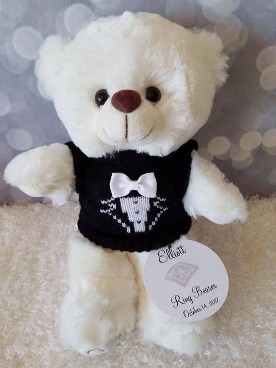 4f4b4ea98e2 Personalized Ring Bearer Gift Tuxedo Teddy Bear Boys Gift