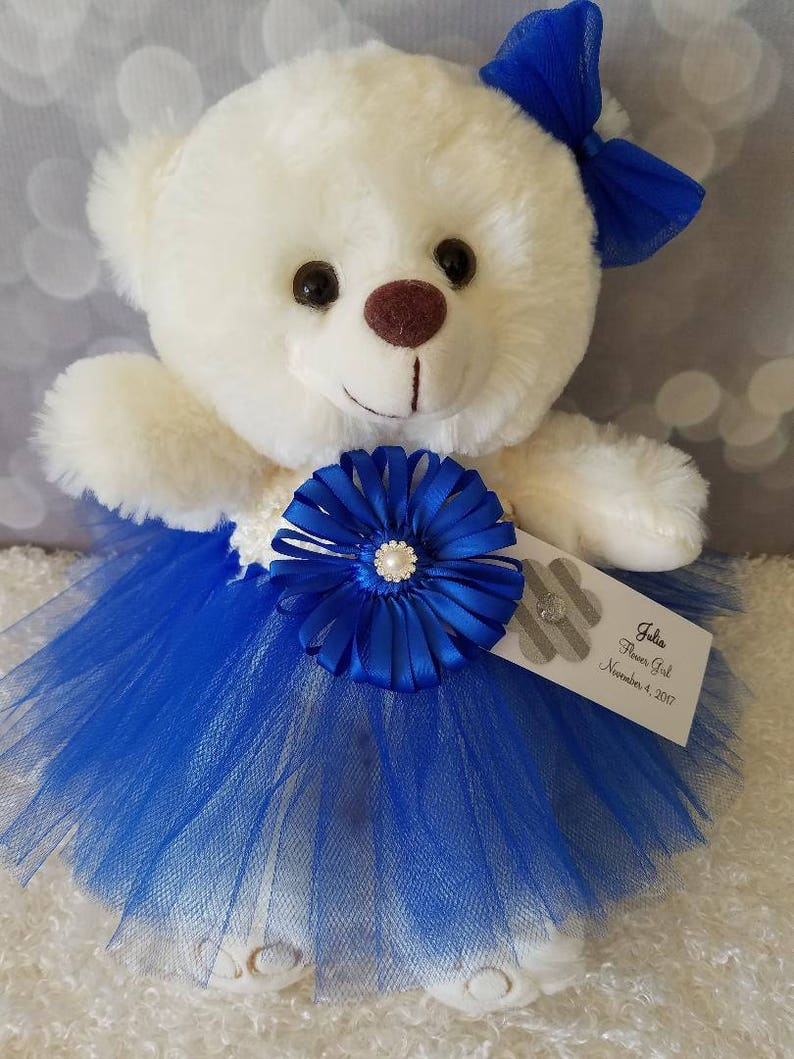 da1949f23 Royal Blue Flower Girl Gift Tutu Teddy Bear Personalized Jr