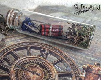 Glass vial bottle necklace, zombie gift, jewelry, unique dynamite, miniature, zombie apocalypse, terrarium, model, walking dead, handmade