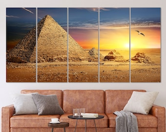 Egyptian Pyramids UFO Landscape Large Poster Art Print in multiple sizes
